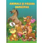 Animale si pasari domestice Carte de citit si colorat