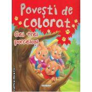 Povesti de colorat Cei trei purcelusi