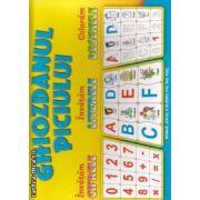 Ghiozdanul piciului : Invatam : Cifrele , Literele ; Coloram : Desenele ( editura: Carusel , ISBN 978-9975-104-30-2 )