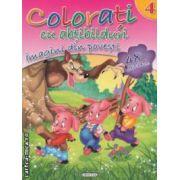 Colorati cu abtibilduri imagini din povesti nr 4 ( editura : Girasol , ISBN 978-606-525-239-4 )