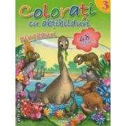 Colorati cu abtibilduri dinozauri nr 3 ( editura : Girasol , ISBN 978-606-525-238-7 )
