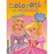 Colorati cu abtibilduri printese nr 1 - 48 de abtibilduri ( editura : Girasol , ISBN 9786065252363 )