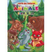 Animale din padure : carte de colorat ( editura : Eurobookids , autor : Radu Gavrilescu , Serban Andreescu ISBN 978-606-8373-08-9 )