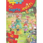 Cei sapte ieduti : cu 40 de abtibilduri in forma de puzzle ( editura : Girasol , Ilustratii : Carlos Busquets ISBN 978-606-525-269-1 )