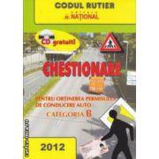 Chestionare - pentru obtinerea permisului de conducere auto : CATEGORIA B 2012 cu CD ( editura : National ISBN 978-973-659-146-4* )