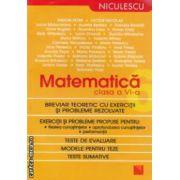 Matematica clasa a VI - a : breviar teoretic cu exercitii si probleme rezolvate ( editura : Niculescu , autori : Simion Petre , Viorica Nicolae ISBN 978-973-748-651-6 )