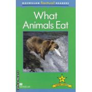 Macmillan factual Readers : What Animals Eat - Lever 2+ ( editura : Macmillan , autor : Brenda Stones ISBN 978-0-230-43210-9 )