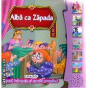 Alba ca Zapada apasa butoanele si asculta povestea ( Editura : Girasol  ISBN 978-606-525-384-1 )