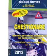 Chestionare pentru obtinerea permisului de conducere auto categoriile AM ( motoscutere ) , A1 , A2 , A - 2013 ( editura : National ISBN 978-973-659-229-4 )