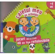 Micul imbatabil, Caietul meu de activitati +4 ani, jocuri atractive, 40 de fise refolosibile ( Editura: Dph ISBN 978-606-683-179-6 )