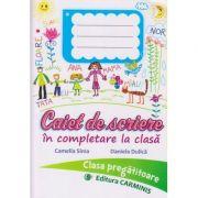 Caiet de scriere in completare la clasa pentru clasa pregatitoare ( Editura: Carminis, Autor: Camelia Sima, Daniela Dulica ISBN 978-973-123-345-1 )