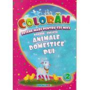 Coloram! Desene mari pentru cei mici. Romana-engleza. Animale domestice - pui ( Editura: Eurobookids ISBN 978-606-8373-88-1 )