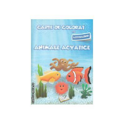 Carte de colorat cu abtibilduri Animale acvatice ( Editura: Ars Libri, Autor: Adina Grigore ISBN 978-606-574-151-5 )