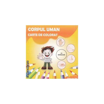 Corpul uman carte de colorat cu abtibilduri ( Editura : Ars Libri , Autor : Adina Grigore ISBN 978-606-574-229-1 )