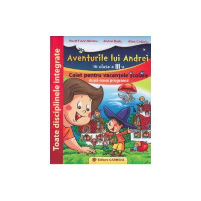 Aventurile lui Andrei in clasa a III a caiet pentru vacanta ( Editura: Carminis, Autor: Pavel Florin Moraru, Andrei Badiu, Alina Ciobanu ISBN 9789731232478 )