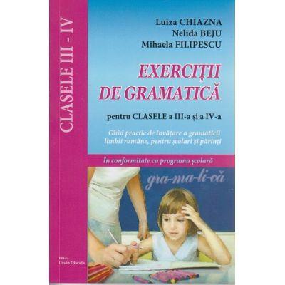 Exercitii de gramatica pentru clasele a III-a si a IV-a ( Editura: Lizuka Educativ, Autor: Luiza Chiazna, Nelida Beju, Mihaela Filipescu ISBN 978-606-93136-0-2 )
