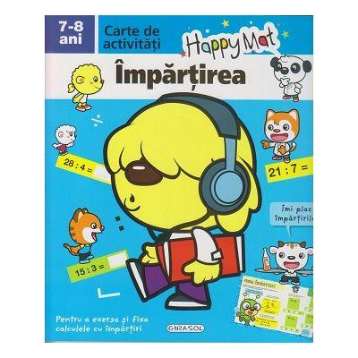 Happy Mat, carte de activitati, Impartirea 7-8 ani ( Editura: Girasol ISBN 9786065258846 )