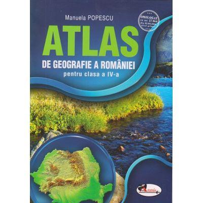 Atlas de geografie a Romaniei pentru clasa a IV-a ( Editura: Aramis, Autor: Manuela Popescu ISBN 978-606-706-281-6 )