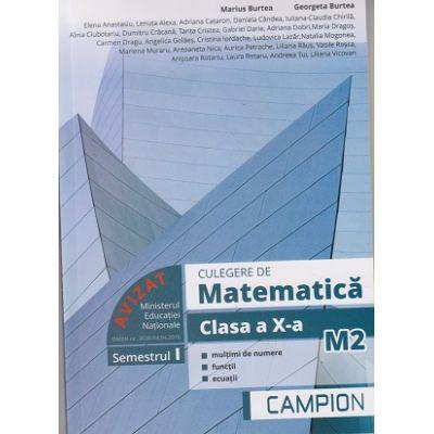 Culegere de matematica clasa a X-a M2, semestrul I ( Editura: Campion, Autori: Marius Burtea, Georgeta Burtea ISBN 9786068952123)